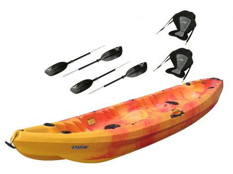Nereus Double Fishing Kayak-Red-Yellow